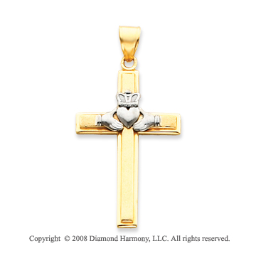 14k Two Tone Filigree Carved Claddagh Cross